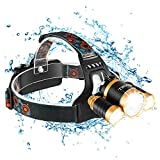 Head torch, USB Rechargeable 4 Modes Headlamp High Power Headtorch ,Super Bright LED Headlamp with 3 LED Bulbs, Waterproof Headlight for Camping, Hiking, Fishing, Hunting and Night Riding