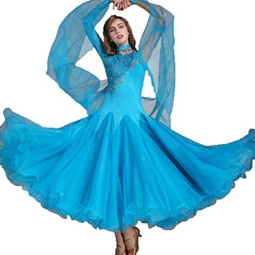 Walzer Tanz Rock für Frauen Performance Kostüme National Standard Tanzkleid Klöppel Hüllen Ballroom Dance Kleidung Wettbewerb Kampf Kleider, ()