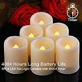 Homemory velas votivas sin llama de 6pcs LED con el contador de tiempo (modo 4H / 6H), más de 400 velas de la batería, borde derretido, luz de resplandor caliente
