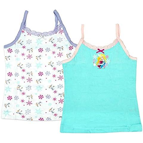 Niña Paquete de 2 Disney Frozen Anna Elsa Olaf Ribete De Encaje Camiseta tallas desde 1.5 a 8
