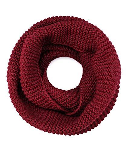 Superora sciarpa collo donna invernale in maglie scaldacollo cerchio crochet scialle copricollo signora rosso vino