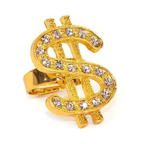 Oblique Unique® Dollar Ring Gold mit Edelsteinen Einheitsgröße verstellbar Kunst Schmuck für Rapper Gangster Millionär Kostüm Fasching Karneval