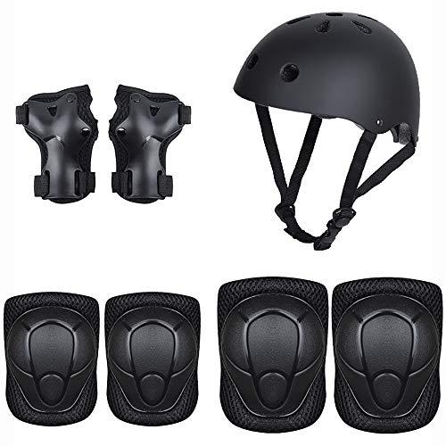 Kinderschutzausrüstung Set Helm Reitellbogenschützer Armbänder schwarz Kniepolster 7 Sätze von Rollschuhe BAAYD vollen Skateboard-Skates Laufrads Schutz-Black