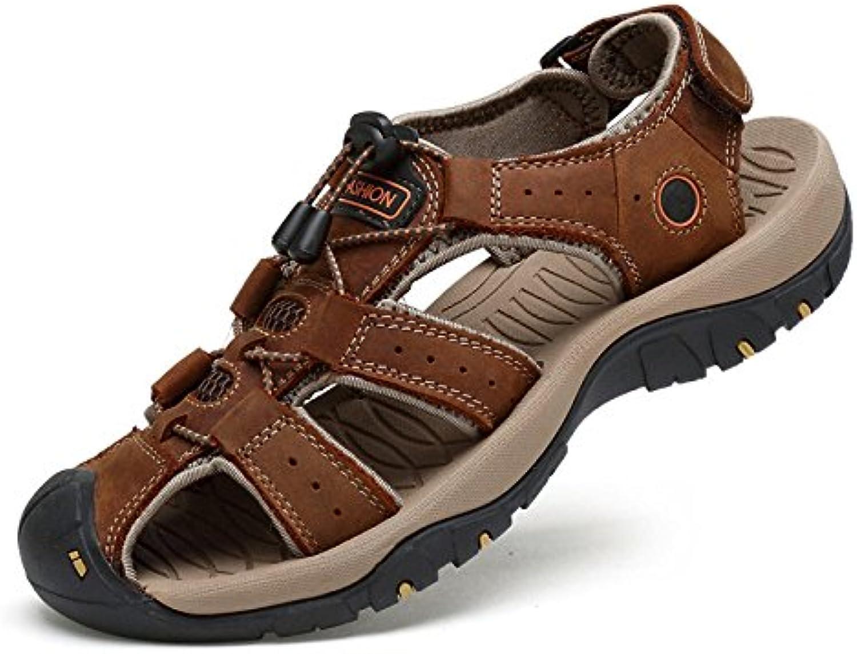Sandalias Deportivas para Hombres De Verano Sandalias Exteriores De Cuero con Tacón Alto Zapatos De Trekking,Brown-41