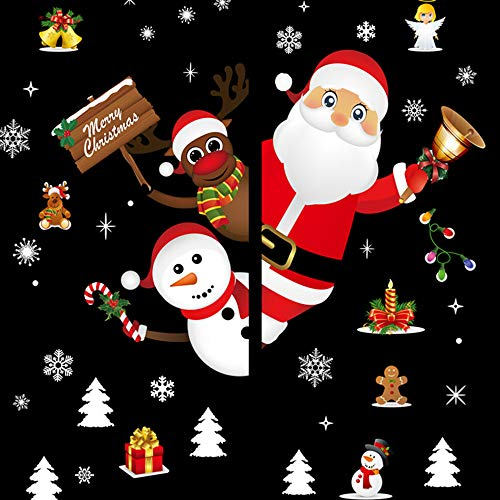 MMLC Weihnachtsdeko Weihnachtssticker Merry Christmas Schaufensterdekoration (D)