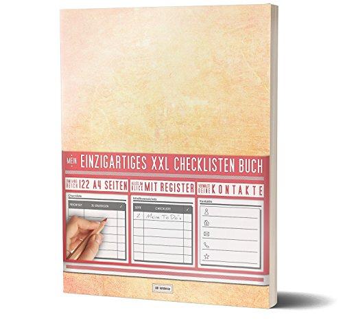 """Mein Checklisten Buch / 122 Seiten, Register uvm. / Jetzt mit Datum, Priorität und Platz für Notizen / PR501 """"Orange"""" / DIN A4 Softcover Ziel Agenden"""