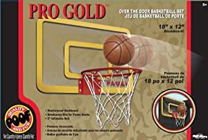 POOF-Slinky 455BL POOF Pro Gold Over The Door 18-Inch Breakaway Rim Basketball Hoop Set with Clear Shatterproof Backboard and 5-Inch Inflatable Ball by Poof TOY (English Manual)