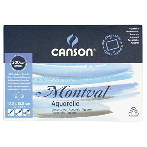 Canson 200006532 AQ Montval fein Aquarelle, 300 g/qm, 12 Blatt Pro Block Rundum geleimt, 10.5 x 15.5...