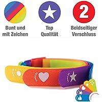 5 Klettverschlüsse Danke Zeichen-Set: Kabelmarkierer und Kabelbinder zugleich, 25 cm, beidseitig verschließbar, kräftigen Farben und versch. Zeichen