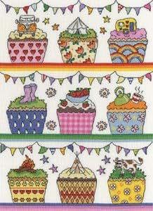 Arc-en-ciel Cup Cakes–Kit broderie pour point de croix Motif