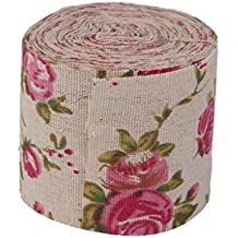 10m Rollo de Cinta Arpillera Yute Flor Rosa Impresa Decoración para Boda Artesanía