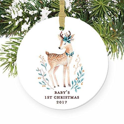 aby Deer S woodland Baby Dusche Geschenke Geschenk für Neugeborene rund Weihnachten Ornament Andenken Xmas Tree Dekoration Hochzeit Jahrestag Geschenk Weihnachtsbaum Geschenk Idee ()