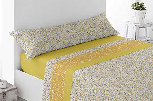 Juego de sábanas amarillas Estampadas Microfibra, 100% poliéster 150cm