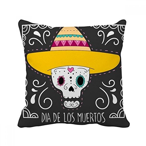 enkopf, Tag der Toten, quadratisch, Kissenfüllung Kissenhülle Home Sofa Dekor Geschenk (Tag Der Toten Dekor)