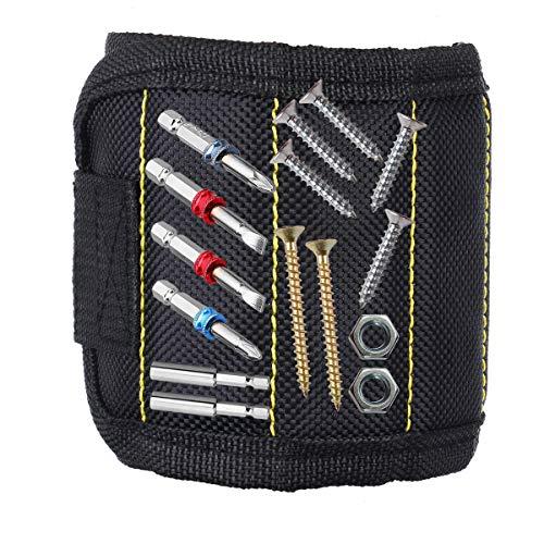 Eshall Magnetisches Armband, Magnetarmband mit 10 Starken Magneten zum Halten von Schrauben, Nägel, Mutter, Unterlegscheiben, Nadeln, Bohren Bits, und Kleinwerkzeuge für Frauen und Männer
