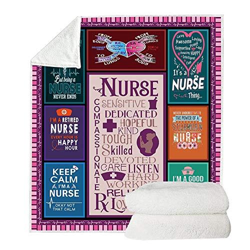 Wongfon Fleece Decke-Krankenschwester unter dem Motto doppelseitige weiche Sherpa-Decke für zu Hause Schlafsofa Reisen Camping -