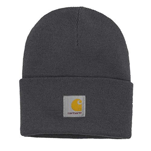 Carhartt WIP Damen und Herren Acrylic Watch Hat Winter Strickmütze Unisex Beanie Mütze mit 7kmh Aufkleber Schwarz