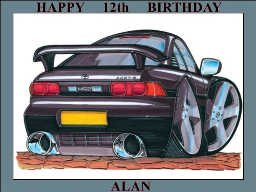 115-toyota-mr2-mk11-green-koolart-0115-personalised-10-x-75-icing-cake-topper-any-name-age-or-messag