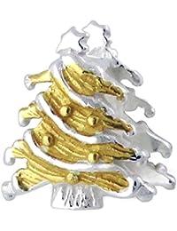 So Chic Joyas - Abalorio Charm árbol Navidad árbol plateado y el - Compatible con Pandora, Trollbeads, Chamilia, Biagi - Plata 925