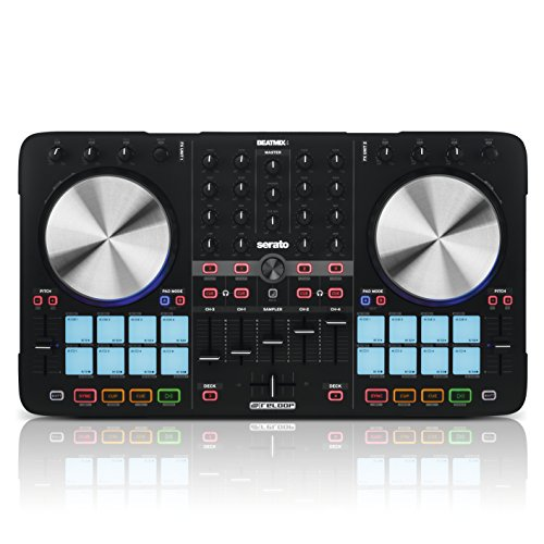 Reloop Beatmix 4 MK2 - 4-Deck USB Performance Pad DJ Controller - 16 Multi-Colour Drum Pads mit Jogwheels und integrierter Soundkarte, Plug and play für Serato DJ, MIDI kompatibel, USB Bus Powered, (schwarz) (4-kanal-volume-regler)