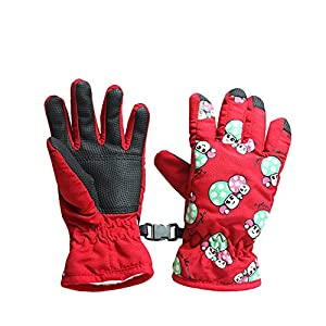 Fastone Kinder Skihandschuhe Atmungsaktive Kinderhandschuhe Winter Warm Winddicht Wasserdichte Winterhandschuhe Rot