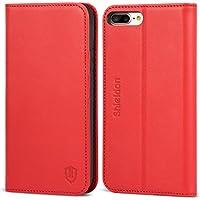 Funda iPhone 8 Plus, Funda iPhone 7 Plus, SHIELDON Funda iPhone 8 Plus piel [Garantía de por vida] Cubierta Interior TPU, Ranuras para Tarjetas, Cierre Magnético, Funda Tapa iPhone 8 Plus/7 Plus –Rojo