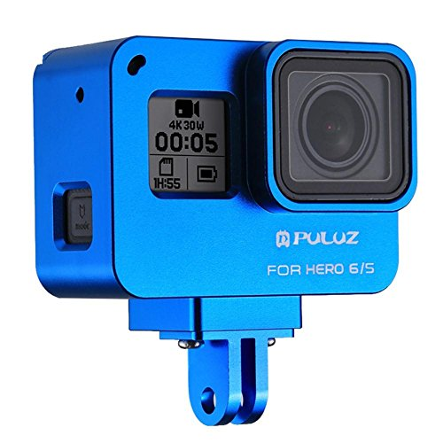 Joint Victory Housing Shell CNC Aluminum Alloy Protective Cage with Insurance Frame for GoPro Hero New 2018/6/5 Action Camera (Blau) - Wind Stabilizer