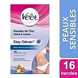 Veet - Bandes De Cire Maillot Aisselles Easy-Gelwax Peaux Sensibles
