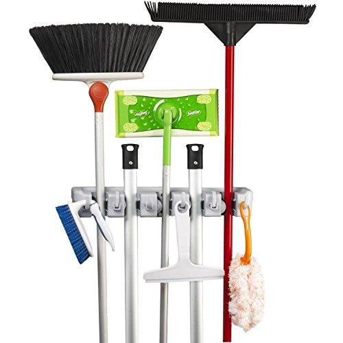 HMMJ Gerätehalter, Mopp und Gartenwerkzeuge Wandhalterung Ordnungsleiste mit 6 Haken und 5 Schnellspannern