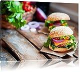 Leckere Burger, Format: 100x70 auf Leinwand, XXL riesige Bilder fertig gerahmt mit Keilrahmen,...