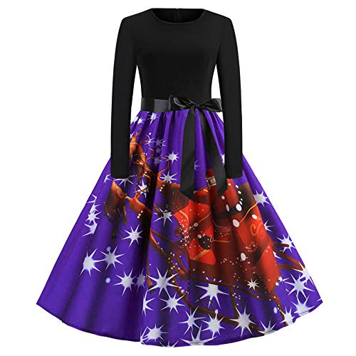 friendGG ❤️❤ Abendkleider Weihnachten Kleider Damen Festlich Kleid Frauen Weihnachtskleid Kleid Swing Taille Slim Cocktailkleid Retro Schwingen Party Partykleid Festlich Christmas Dress