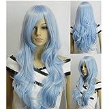 Ag Ptek 33 Inch Heat Resistant Curly Wavy Long Cosplay Wigs Light Blue
