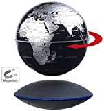 infactory Schwebender Globus: Freischwebender Globus mit beleuchteter Magnet-Schwebebasis, Ø 14 cm (Globe)
