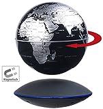 infactory Schwebender Globus: Freischwebender Globus mit beleuchteter Magnet-Schwebebasis, Ø 14 cm (Weltkugel)
