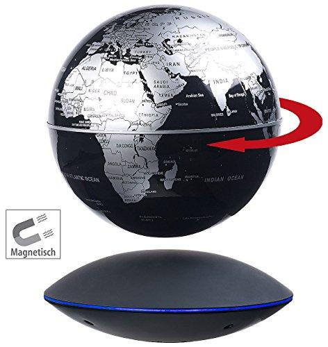 infactory Schwebender Globus: Freischwebender Globus mit beleuchteter Magnet-Schwebebasis, Ø 14 cm (magnetisch Schwebender Globus) Schwebender Globus