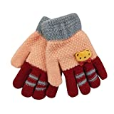 Fahrradhandschuhe URSING Unisex Mädchen Jungen Winter Warme Handschuhe Fingerhandschuh Winterhandschuhe kinderhandschuhe fäustlinge Fäustel skihandschuhe kindergrößen (Rosa)