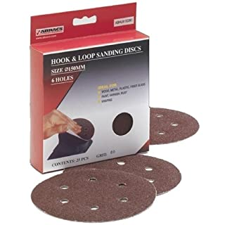 Abracs 150mm x 60g 6 Holes Hook and Loop Disc (25 Pieces)