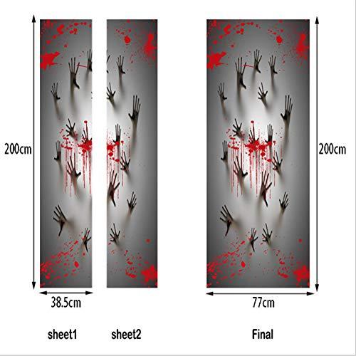 3D Türaufkleber Dekoration Wandbild Türtapete Halloween Bloody Dunkel Horror Abnehmbar Selbstklebend Wasserdicht PVC Türposter Renovierung Tür Wohnzimmer Schlafzimmer Küche(38,5 * 200 (2 Teile))