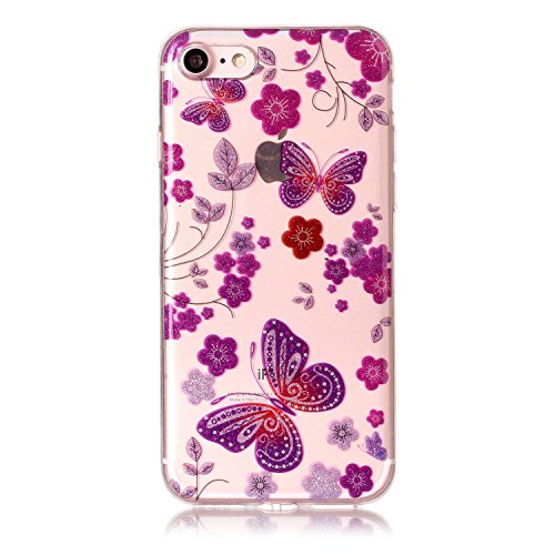 iphone 7 Hülle,E-Lush TPU Dünn Silikon Hülle [Kristallklar Durchsichtig],Purple Butterfly Muster Crystal Stoßdämpfend Transparent Silikon Schutz Handy Hülle CaseClear Klar Hanytasche für iphone 7 Durc Purple Butterfly