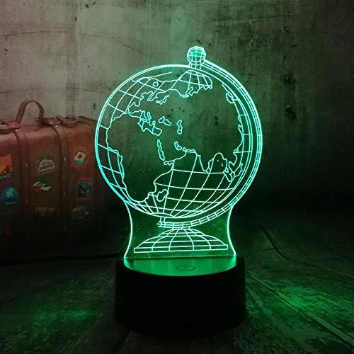 Lámpara 3D de noche LED Globo terráqueo Decoración Escritorio de Mesa Lámparas de Ilusión Óptica 7 Luces Cambiantes de Color Regalo de niño