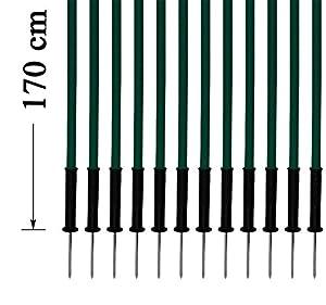 agility sport pour chiens - lot de 12 piquets de slalom, vert - 170 cm x Ø 25 mm avec des ressorts flexibles en métal - contient également un sac pratique