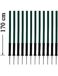 Artículos para perros - Set de 12x picas de slalom con puntas de acero, 170 cm, verde - con bolsa