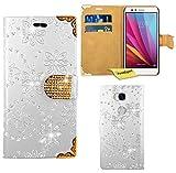 Huawei Honor 5X Handy Tasche, FoneExpert® Bling Luxus Diamant Hülle Wallet Case Cover Hüllen Etui Ledertasche Premium Lederhülle Schutzhülle für Huawei Honor 5X (Weiß)