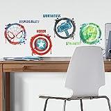 RoomMates Stickers Avengers repositionnables 4 Logo des Super-héros en Dessin Marvel 92,7CM X 21,9CM
