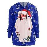 Sufeng Womens Long Sleeve Christmas Santa Print Casual Hoodie Sweatshirt Blouse Tops