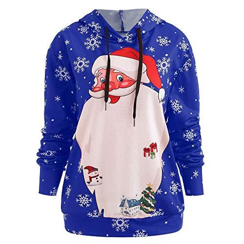 Vectry Weihnachten Kapuzenpullover Damen, Weihnachtsmann Gedruckt Hoodies Casual Freizeit Sweatshirt Mädchen Langarm Lustige Bluse Weihnachten Kostüm Christmas Jumper Weihnachtspullover Ugly Sweater