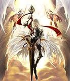 Fototapete Nippon Collection, diabolisch wirkende Kriegerin von Engeln flankiert, hat gelbe Augen und trägt eine prächtige Rüstung, 5 Bahnen hochwertige Vliestapete, 232,5 x 270 cm