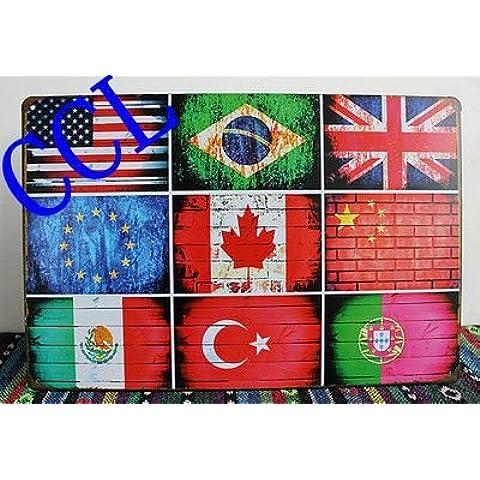 6 Stili di bandiera nazionale segni di stagno,Vintage segni di metallo bandiera degli Stati Uniti Regno Unito Brasile Canada wall art decoration ,30x20cm