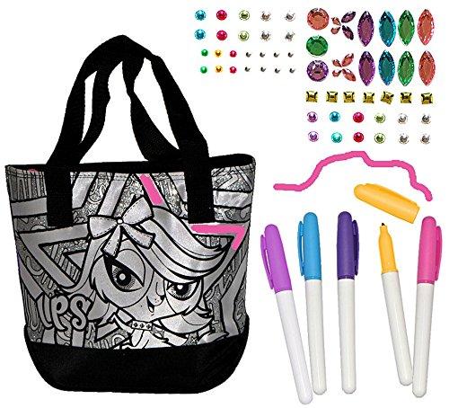 Bastelset zum Bemalen für Umhängetasche / Schultertasche - Littlest Pet Shop - abwischbar groß - Kindertasche Tasche Stoff Mädchen Tragetasche