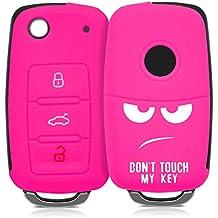 kwmobile Funda de silicona para llave de 3 botones para coche VW Skoda Seat - cover de llave - key case Diseño Don't touch my Key en blanco rosa fucsia